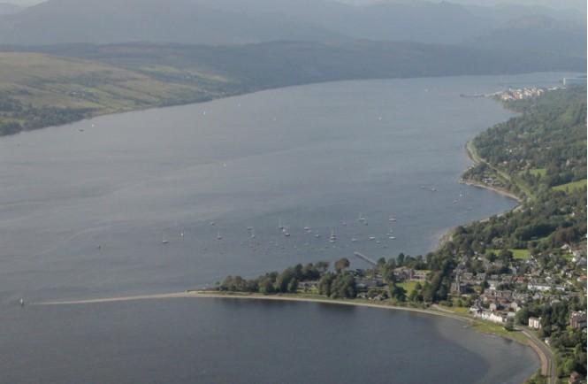 Aerial view of the Rhu Marina in Scotland