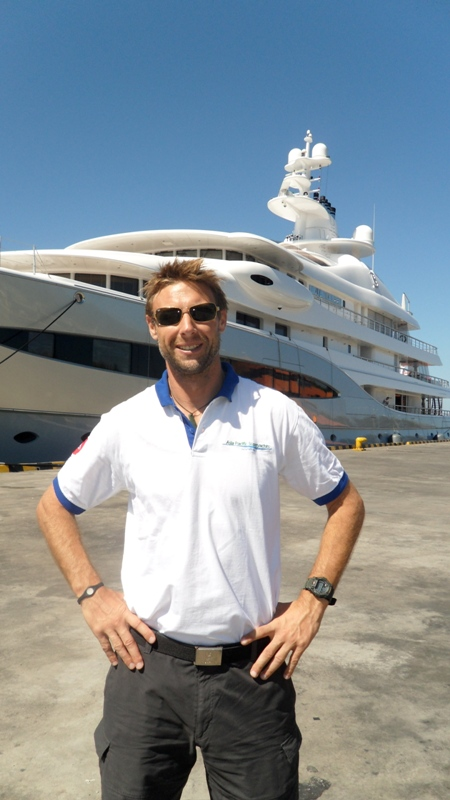 Asia Pacific Superyachts Indonesia Richard Lofthouse at Bali harbor with Mayan Queen