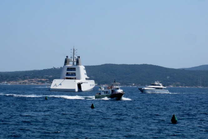 B+V luxury mega yacht A at St Tropez - France Photo credit to Sacha Suzanne Hart