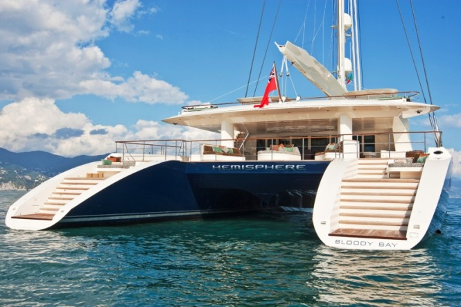 Luxury catamaran yacht HEMISPHERE boasting exclusive linen by Heirlooms