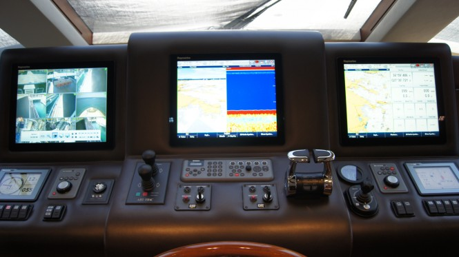 Luxury yacht Moni - Raymarine electronics installed in the wheelhouse