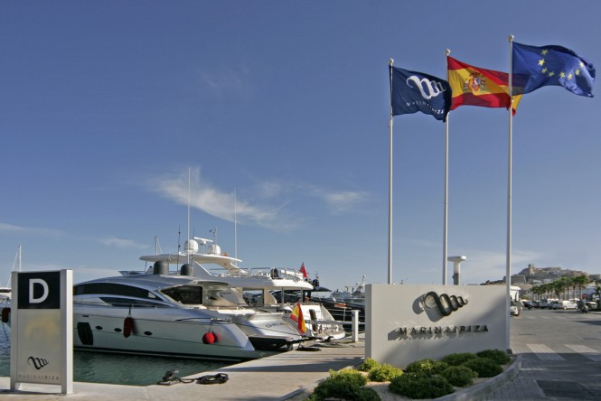 Marina Ibiza with blue flag