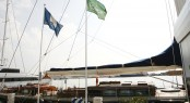 Marina Port de Mallorca with blue flag