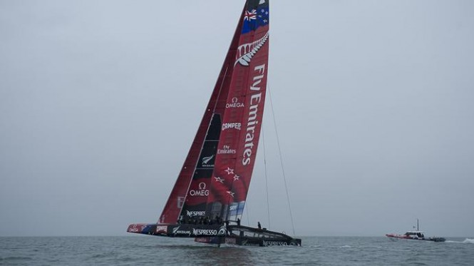 Newly launched AC72 catamaran yacht New Zealand - her first sailing in Auckland