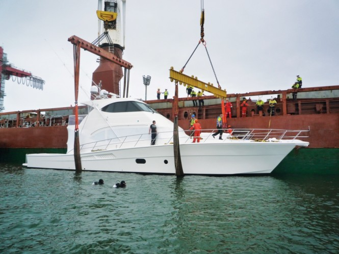 Riviera's flagship 75 Enclosed Flybridge was shipped to her New Zealand owners earlier this week