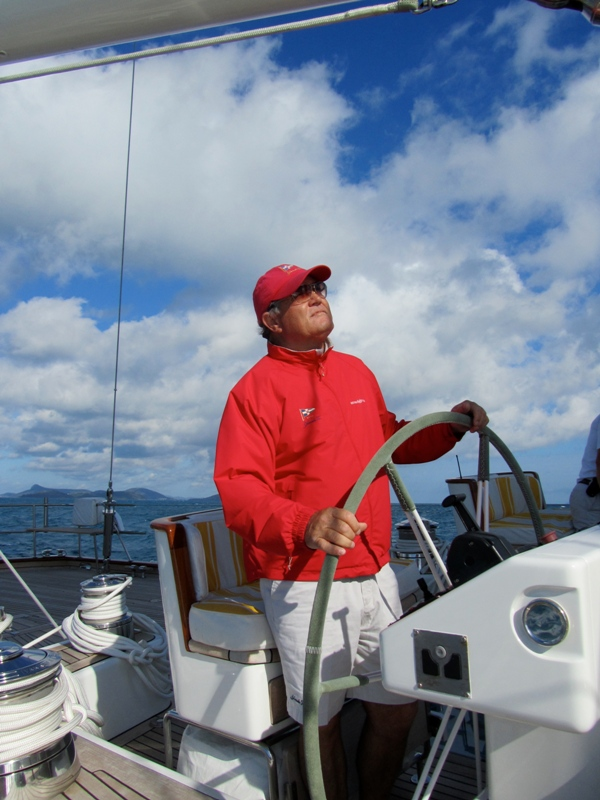 Samui - Capt  Charlie at helm of Yanneke Too superyacht Credit: Asia Pacific Superyachts Samui