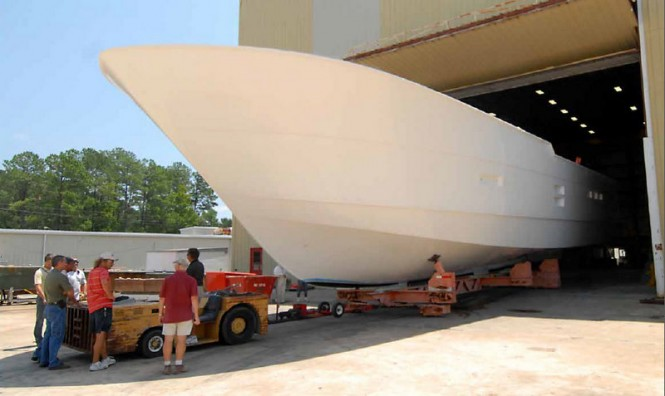 Superyacht 100 RPH coming out of lamination