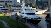 Superyachts berthed in the Thames