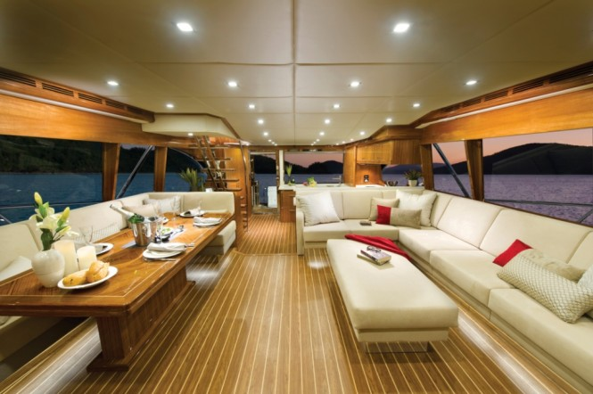 The 75 yacht can be customised to suit the owners' individual requirements this model features an aft galley and saloon with L-shaped lounge
