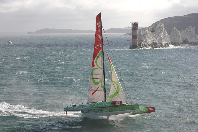The French Multi 50 trimaran yacht Actual bears off for maximum speed around the Needles, eventually taking line honours in today's J.P. Morgan Asset Management Round the Island Race. Photo: onEdition