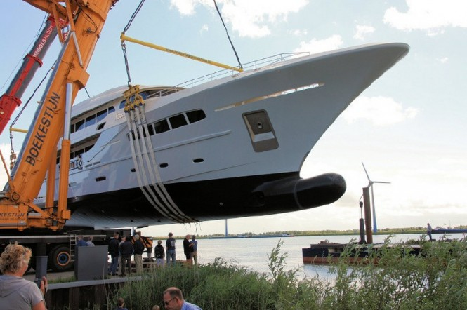 The launch of the 49m Acico superyacht Nassima - Photo courtesy of Olivier van Meer