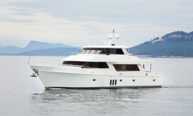 The newly delivered Ocean Alexander 90 superyacht painted with Alexseal