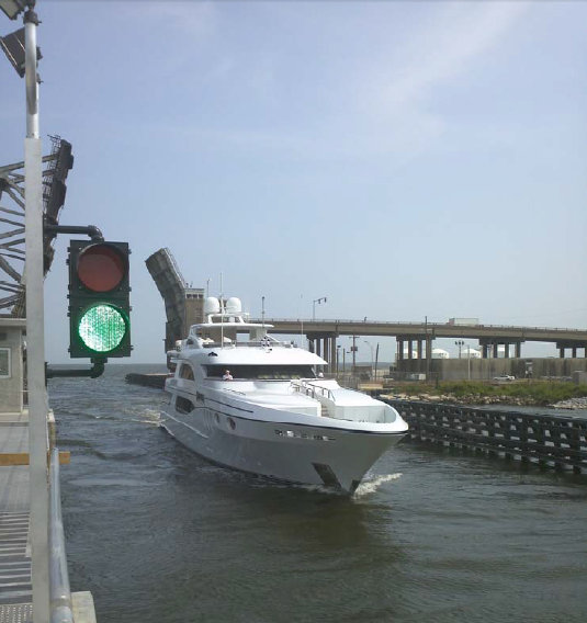 Trinity charter yacht Wheels passing through the new Seabrook Floodgate Complex sector gates