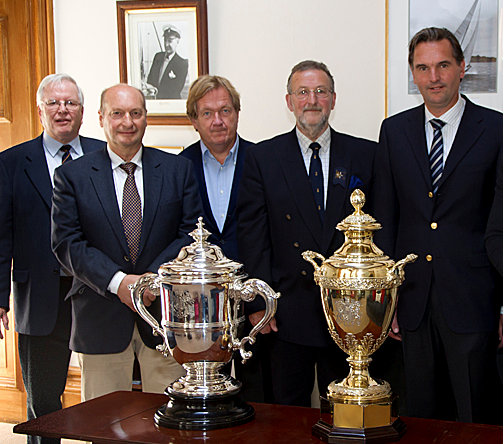 David Pitman (second from left) with Jan Hart  (right) who together secured two unique trophies for the J Class: The Kings Corinthian Cup  and the Hundred Guinea Cup