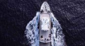 Aerial view of Sprezzatura superyacht