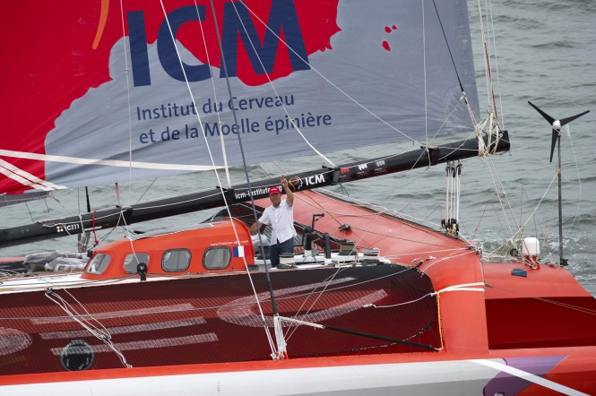 Francis Joyon aboard his 29m sailing yacht IDEC Photo credit: DON EMMERT / AFP PHOTO / DPPI
