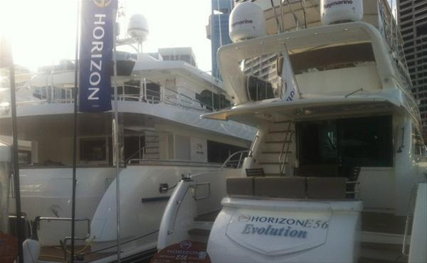 Horizon E56 luxury yacht Evolution at Sydney Boat Show