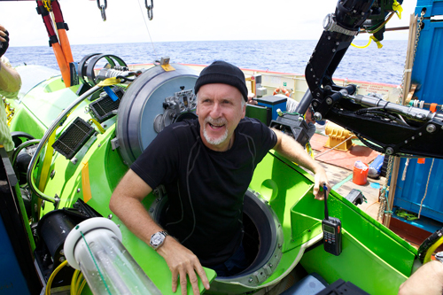 James Cameron in the Deepsea Challenger submersible by McConaghy Boats - Photo Credit: Mark Thiessen/National Geographic Society