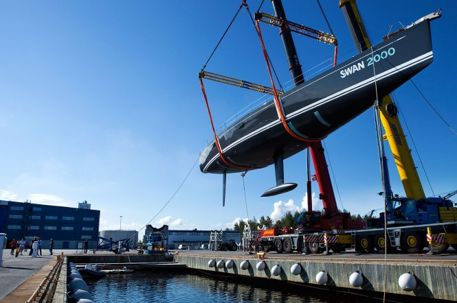 Launching of the Swan 90S sailing yacht FREYA, the 2000th Swan © Eva-Stina Kjellman 2012