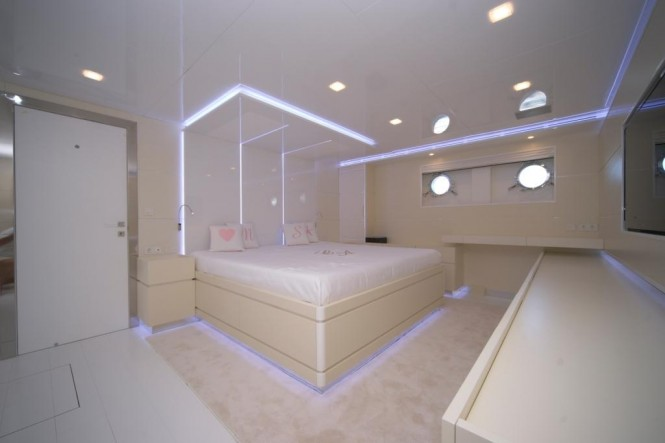 Luxurious cabins aboard Irie Man superyacht