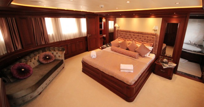 Luxurious cabins aboard M&M superyacht