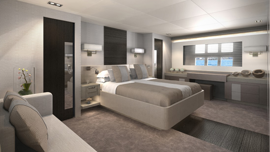 Luxurious cabins aboard Pearl 75 yacht