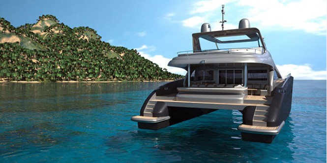 Luxury yacht 85 Sunreef Power - rear view