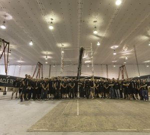 The first ORACLE TEAM USA catamaran yacht AC72 to be launched by the end of August