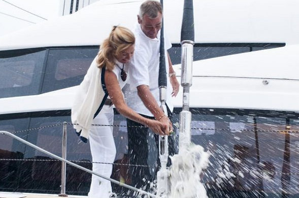 Proud Owners christening their Houbara yacht