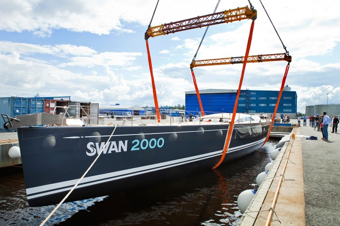 Sailing yacht FREYA, the 2000th Swan being launched  Eva-Stina Kjellman 2012