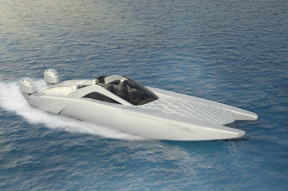 Spire Boat's Crystal yacht tender designed by Marianna Holloway