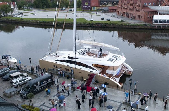 Sunreef 82 DD superyacht Houbara during her christening ceremony