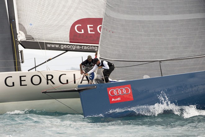 TP52 yacht Shogun V and Georgia - Photo Credit: Andrea Francolini/AudiSHOGUN V
