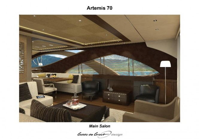 Luxurious interior aboard Artemis 70 yacht