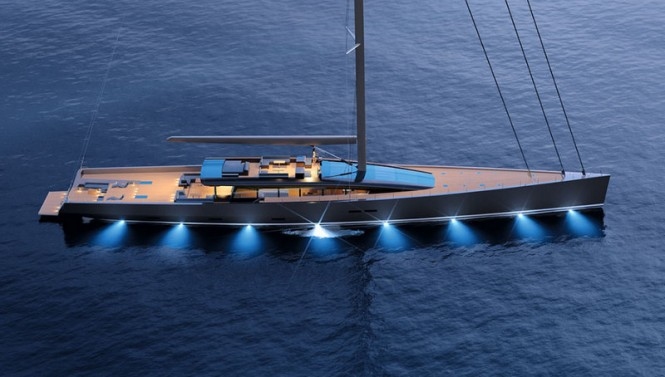 CNB 180 yacht Evoe concept by night - Photo courtesy of CNB Superyachts