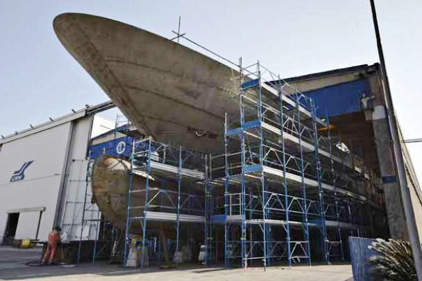 CRN 129 80m superyacht under construction at the CRN Ancona Shipyard