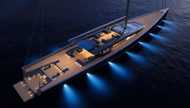 Evoe yacht concept by night - view from above