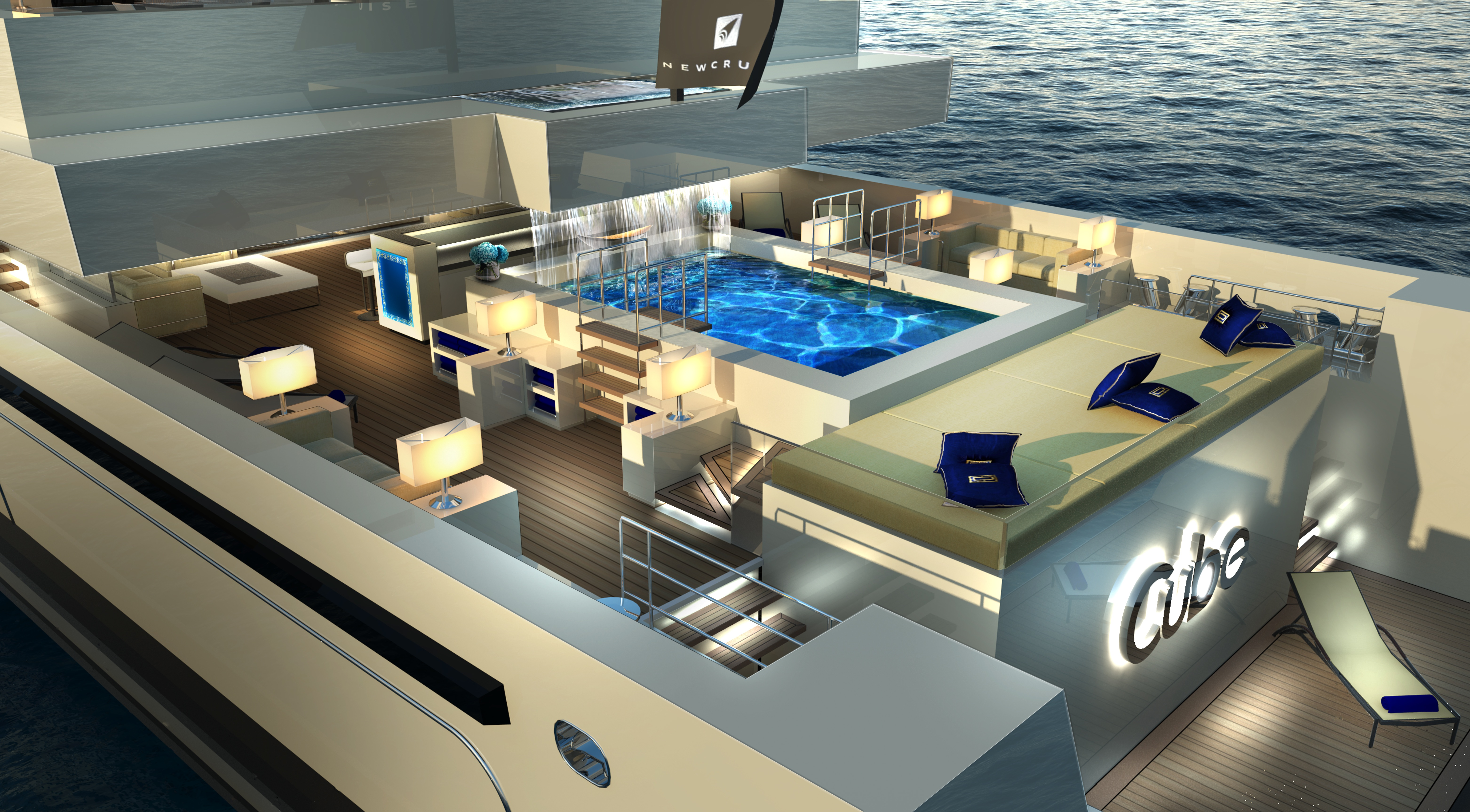 Exterior Spaces Aboard Luxury Yacht CUBE Designed By Newcruise Rendeting Courtesy Of