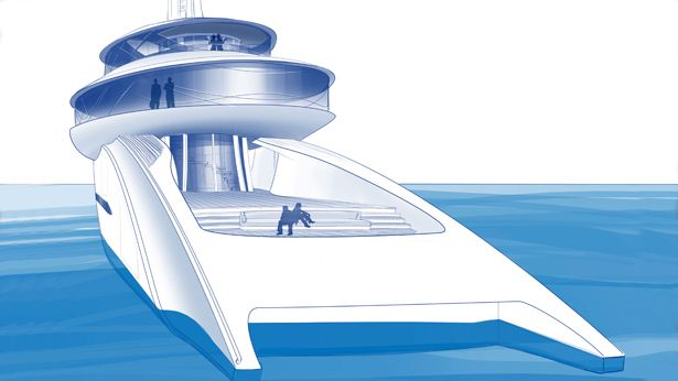 Feadship Future Concept 'Relativity' Aft View of spacios Beach Club