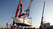 Launching of the luxury motor yacht SOFIA at the Moonen Shipyards in The Netherlands