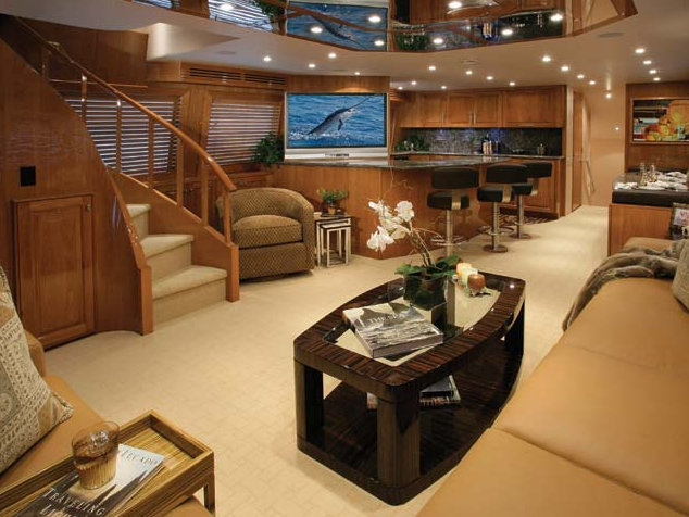 Luxurious interior aboard Hatteras 77 yacht