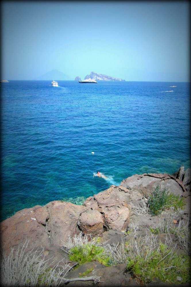 Luxury Yacht Lyana in distance near Panarea - Aeolian Islands - Italy