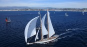 Luxury sailing yacht Elena leading the fleet