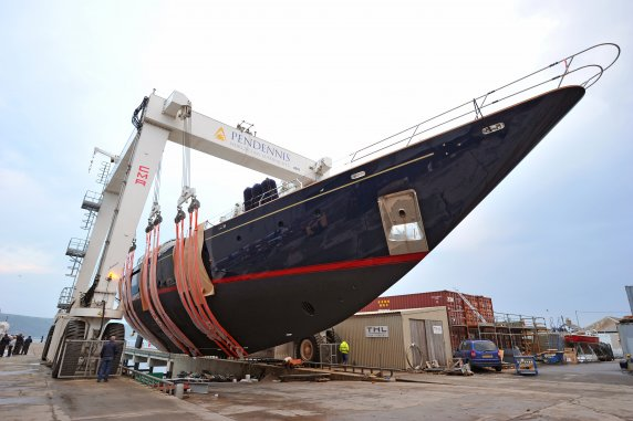 Luxury yacht Andromeda La Dea under refit at Pendennis