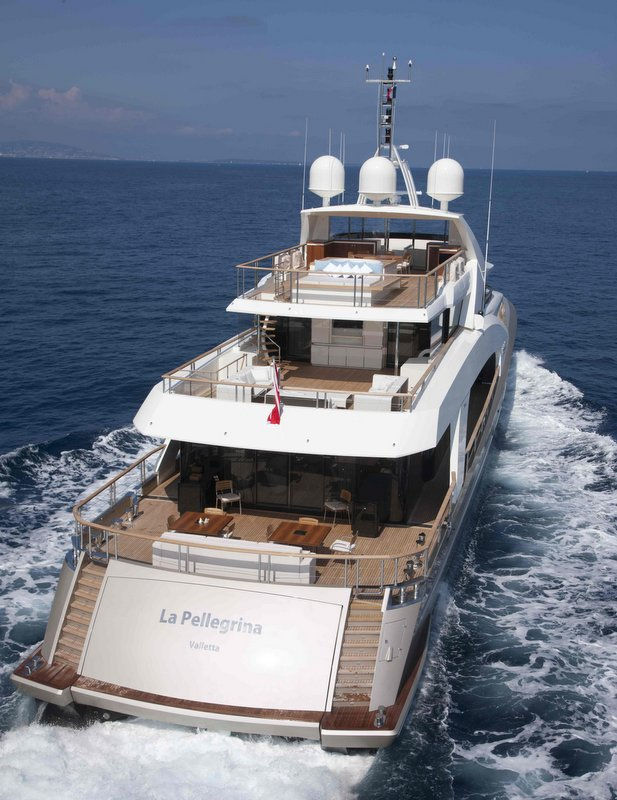 Luxury yacht La Pellegrina - rear view