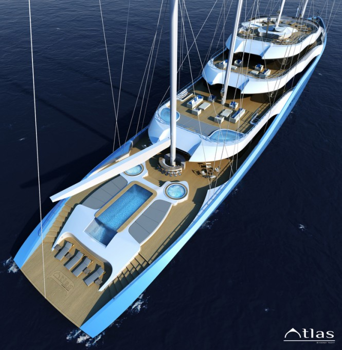 Luxury yacht Project Atlas - view from above