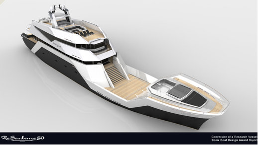 Luxury yacht ReSeadence 50 concept - view from above