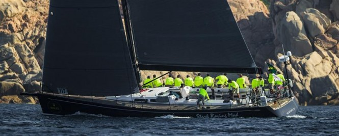 Luxury yacht Stark Raving Mad, winner of the coastal race in the first day of racing - Photo by RolexCarlo Borlenghi