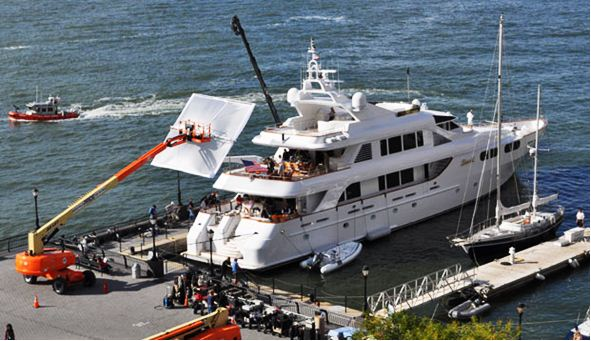Martin Scorcese's new film called Wolf of Wall Street starring Leonardo DiCaprio is currently being filmed onboard the superyacht LADY M at Dennis Conner's North Cove.