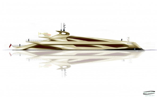 McDiarmid Design - 100m side profile Superyacht DNA